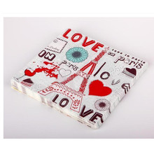 Pair Eiffel Table Art Decor Paper Napkins Love Printed  Tissues Wedding Event Party Dinner Lunch Tableware 20Pcs
