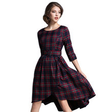 2017 Europe Fashion New Scottish Plaids Checks Print O Neck Half Sleeve A Line Tunic Elegant Ladies Work Wear Casual Mid Dress