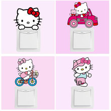 10pcs Cartoon Hello Kitty Switch Wall Stickers For Kids Room Poste Baby Switch Sticker Wall Decals Home Decoration Accessories
