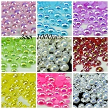 Free Shipping 3mm 1000Pcs/lot AB Colors Craft ABS Imitation Pearls Half Round Flatback Pearls Resin Scrapbook Beads Decorate Diy