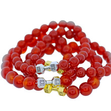 Red  Beaded Bracelets Natural Stones with Dumbbell Pendant Bracelet Women Handmade Fashion Jewelry  Wholesale