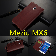 Meizu MX6 Case 5.5 inch Flip Wallet Genuine Leather Cover For Meizu Meizu MX6 With Stand Function Three Card Holder Black Brown