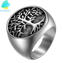 Boniskiss Punk Men Silver Tree Of Life Ring Casting Stainless Steel Life Tree Rings For Men Ring Jewelry Bague Homme(China)
