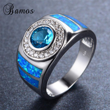 Bamos 925 Sterling Silver Filled Blue Fire Opal Rings for Women Vintage Fashion Round Lake Blue Birthstone Ring Jewelry RS0039