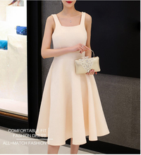 2017 New design quality women's Korean style dresses girls casual spring slim elegant nice dress beige black size S M L #H372