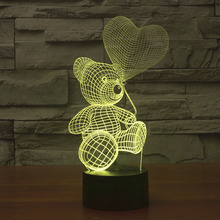 2017 Baby Teddy Bear Hold Love Heart Balloon 3D USB LED Lamp Table Night Light Home Room Decor Kids Toy Girlfriends Gift Beside