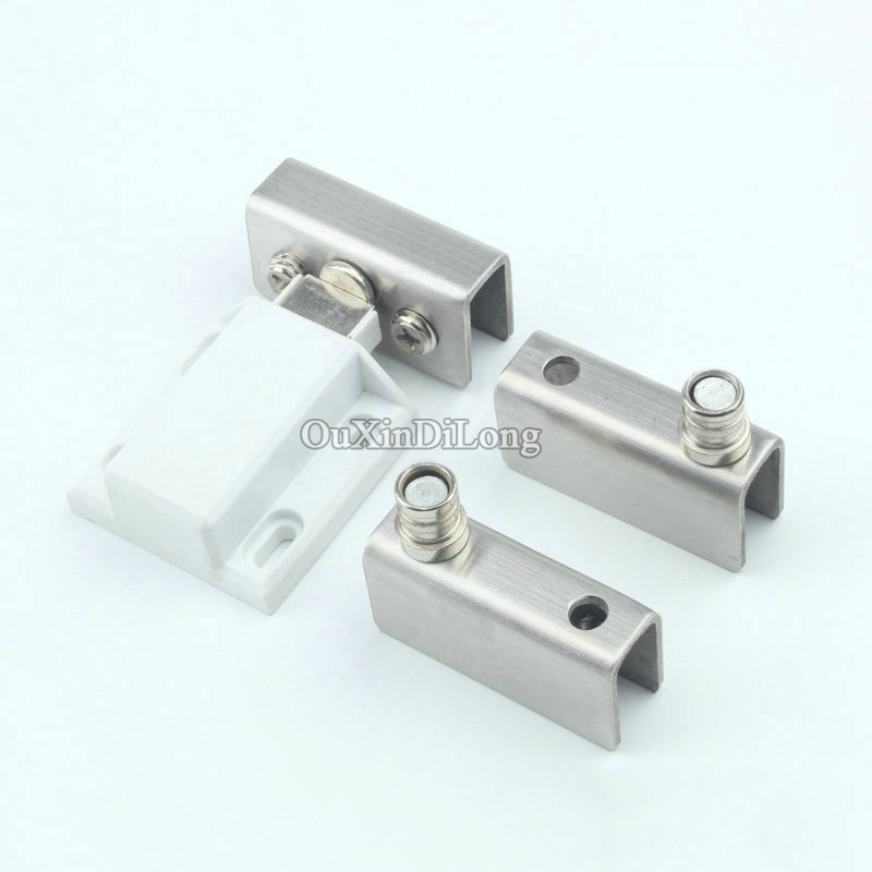 Hotsale 4Sets Stainless Steel Single/Double Door Glass Wine Cabinet Hinges Sets with Door Sensor,Showcase Hinge,for 5-8mm Glass<br>