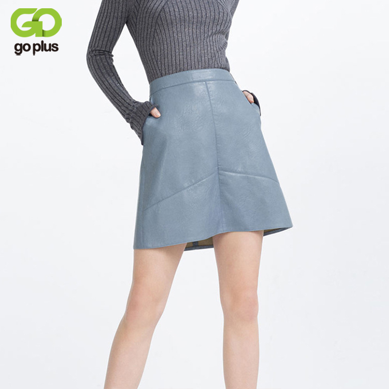 e3015a6493c GOPLUS Autumn Fashion Women High Waist Pu Leather Skirt Ladies Casual A-line  Mini Skirts Pink Yellow Black Green Sexy For Ladies