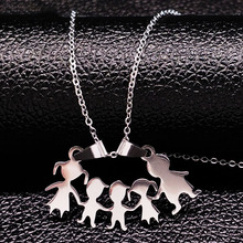 Stainless Steel Girls Boys Necklace Women Mama Kids Neckless Jewelry Accessories Silver Color Family Necklaces Jewerly N7191(China)