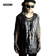 Men Leather Tank Tops Vest punk gothic style stage show Costumes male slim fit Sleeveless Tees shirt vest