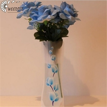 1Pcs Eco-friendly Foldable Folding Flower PVC Durable Vase Home Wedding Party Easy to Store 27 x 11.5cm(China)
