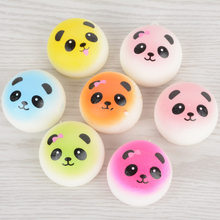 4CM Soft Cute Jumbo Chubby Colorful Panda Squishy Bread Charms Cell Phone Strap Bag Phone Panda Bread Pendant Kid Toys(China)