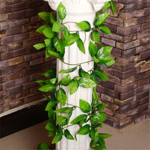 DIY Home Garden Decoration Green Artificial Silk Rose Leaves Vine Cane Hanging Plant Rattan For Wedding Party