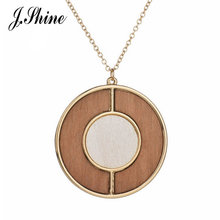 2017 Vintage Simple Round Wooden Fashion Jewelry Long Necklaces & Pendants Women Collier Femme Colar Accessories