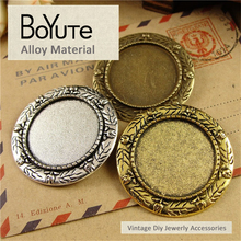 BoYuTe (20 Pieces/Lot) 25MM Inner Size 3 Colors Vintage Style Zinc Alloy Materials Brooch Base Blank Charms for Jewelry Making