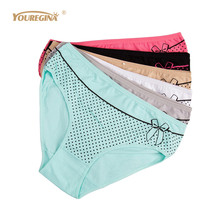 Buy YOUREGINA XXXL Womens Underwear Women Briefs Cotton Plus Size High Waist Panties Briefs Woman Underpants Knickers 6pcs/lot