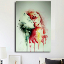 Watercolor style inspiration design art creative couple Kissing wall art pictures Abstract painting home decor canvas prints