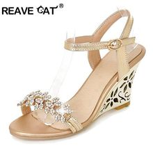 REAVE CAT New arrival Glittering Fashion Fretwork Heels Wedges sandals Rhinestone Silver Gold Summer sandals Sexy Sale QL4277(China)