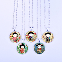 Japanese Kokeshi Necklace Washi Yuzen Dolls Pattern Glass Cabochon Pendant Necklace Fashion Woman Jewelry Party Gifts for kids(China)