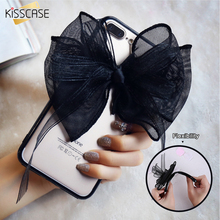 KISSCASE Soft Black Lace Bow Case For iPhone 6 6s 7 Super Bowknot Mesh Ultra Thin Phone Cover For iPhone 6S 6 7 Plus Phone Cases