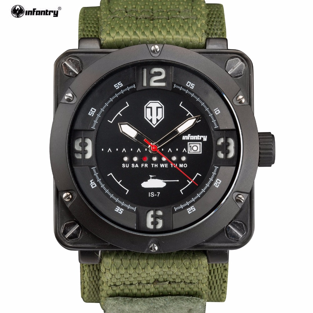 INFANTRY Brand Montre Homme Male Luminous Sport Military ARMY 3ATM Analog Date Day Green Nylon Band Strap Quartz Watches /INF006<br>