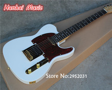 Hot Sale Custom Electric Guitar,White Color,Gold Hardware,String-thru-body Design,Red Pickguard,can be Customized