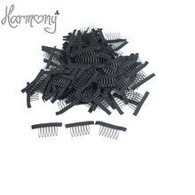 50 pcs Black Wig Combs With Polyster Cloth 7 Teeth Wig Accessories Hair Wig Combs Wholesale Lace Wig Comb Clips(China)