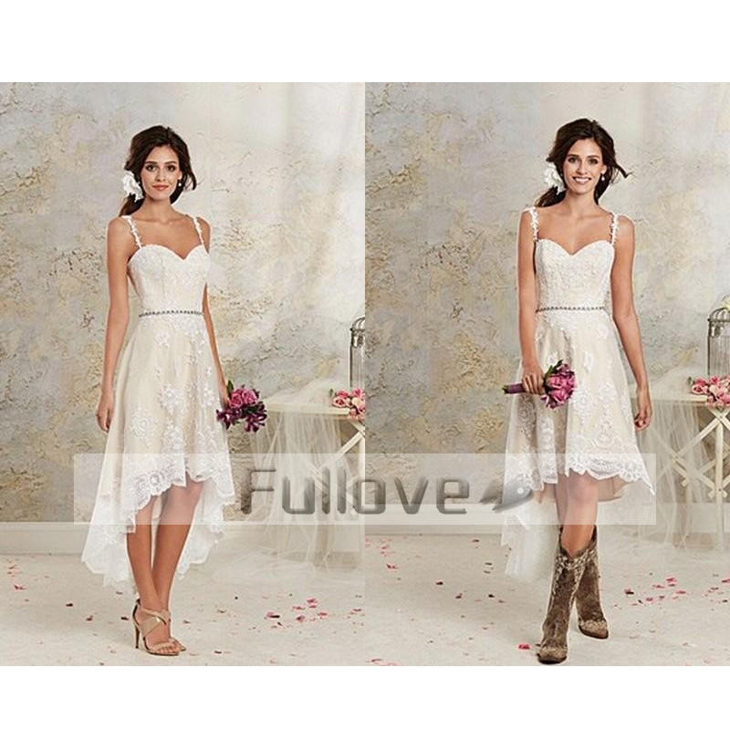 Beach High Low Lace Short Wedding Dresses Sexy Spaghetti Straps Sweetheart Bridal Dress With Crystal Sashes Vestido De Noiva