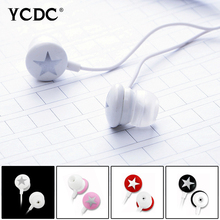 +Free shipping+ YCDC Rainbow Color Cute Star 3.5mm In-ear Headset Earphone Earbud For PC Xiaomi HTC Samsung iPhone MP3 MP4