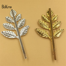 BoYuTe 20Pcs 38*28MM Leaf Hairpin Metal Iron Diy Women Hair Ornaments Jewelry Accesories(China)