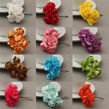 1 Bunch Mini Paper Rose Artificial Flower Bouquet DIY Gift Boxes Scrapbooking Photo Background Wedding Home Decoration