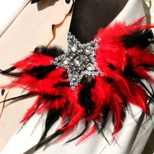Five star feathers badge brooch  Hosted wedding performances stage full of rich feathers badges  male brooch
