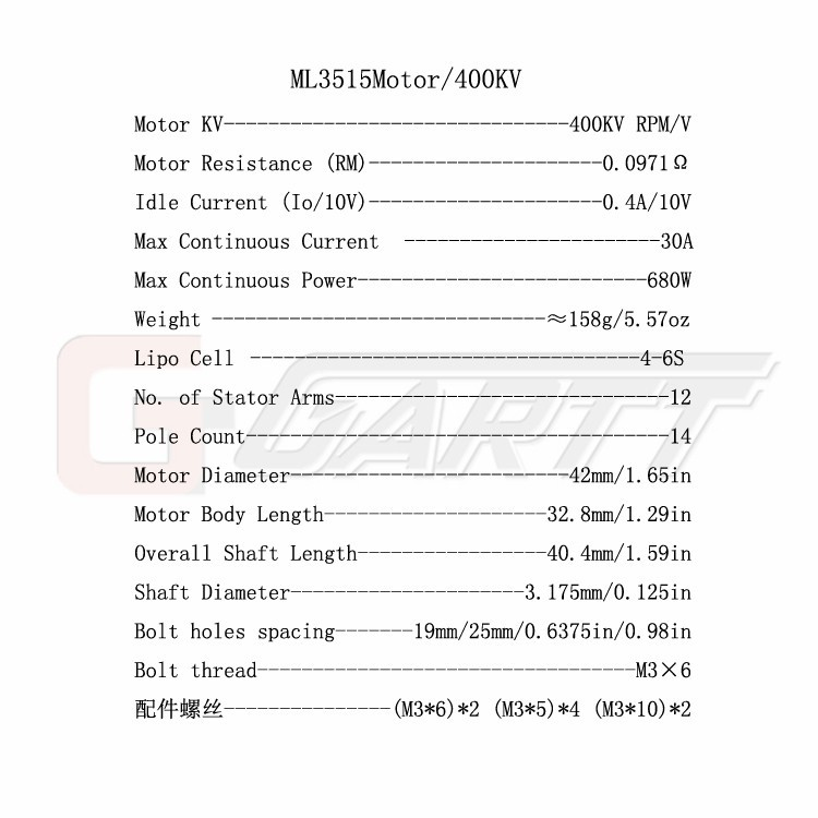 4PCS /6PCS GARTT ML 3515 400KV Brushless Motor For QAV Quadcopter Multicopter RC Drone