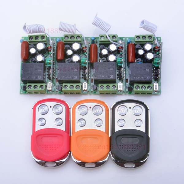 FreeShipping AC220V 1CH 10A Wireless Remote Control Switch 4Receiver 3Color Transmitter Learning Code Momentary Toggle Latched<br>