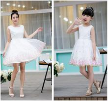 Fashion matching family clothes mother daughter dress lace Princess Dresses For Children's Wedding Dress Birthday Party Outfits