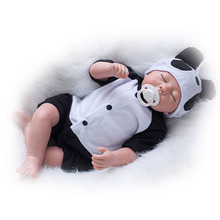Safe Reborn Baby Dolls Silicone Touch Soft Baby Dolls 20 Inch Close Eyes Fashion bebe Cosplay Panda Kits DIY Toy Dolls Xmas Gift