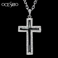 OCESRIO Bling Cross Pendant Necklaces Silver Chain Necklace Hip Hop Punk Designer Jewellery nke-h69