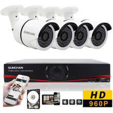 SunChan HD 1080P HDMI 4CH 720P Security  AHD DVR CCTV Kit  1500TVL 960P AHD 4 Channel CCTV Kits Security Camera System 1TB HDD