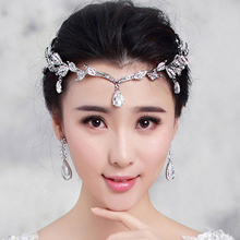 new leaf Crystal Crown Bridal Hair Accessory Wedding headband Rhinestone Waterdrop crown tiara Bridesmaid forehead Hair Jewelry(China)