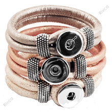 F00227 newest Easy imitation leather rivca Button charm bracelet cord size 6mm for 18mm snap button(China)