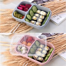 4 Color Wheat Straw Microwave Oven Safe Food Case for Kids School Picnic Food Fruit Portable Storage Container 3 Grid With Lid