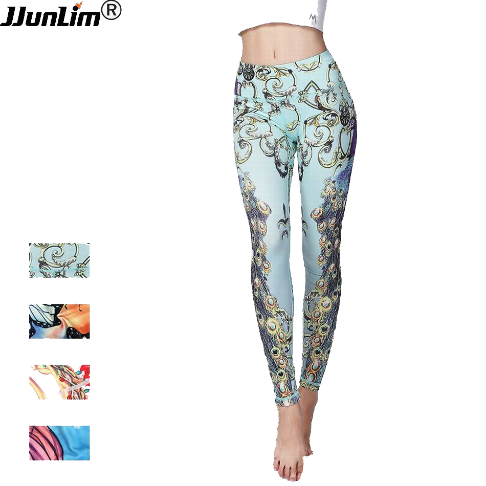 JJunLiM Women Printed Yoga Pants Sport Legging Fitness Gym Pants Workout Running Tight Sport Leggings Female Trousers Dance
