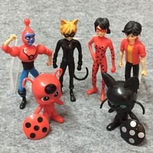 6PCS/lot Miraculous Ladybug and Cat Noir Juguetes Toy Doll Lady Bug Adrien Marinette Plagg Tikki Action Figures Juguete Gifts