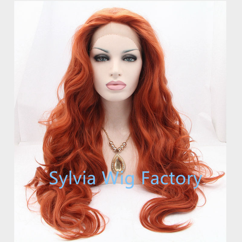 body wave Long Wine Red Synthetic Lace Front Wig Heat Resistant Wavy Burgundy Red for Drag Queen<br><br>Aliexpress