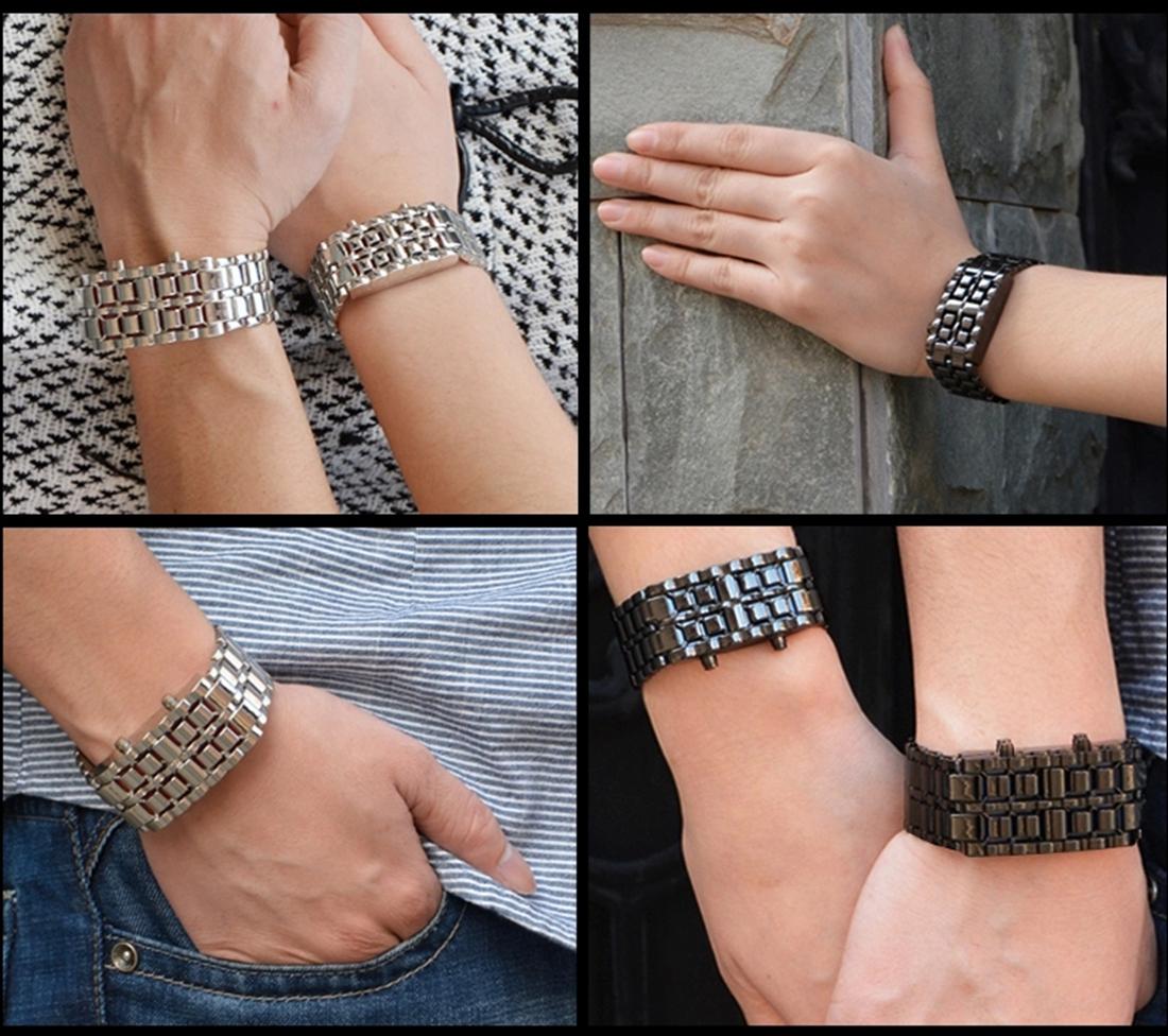 Lava Iron Samurai Men's Watch Luxury Stainless Steel Band LED Watches Date Hour Punk Bracelet Sport Wristwatches reloj hombre