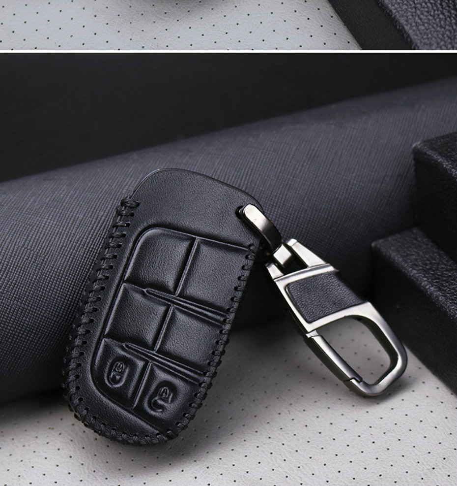 Compatible with JEEP Key Fob Cover for GRAND CHEROKEE COMPASS Zinc Alloy Remote Fob Key Protector with Key Chain