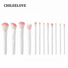 CHILEELOVE 12 Pcs/Set New White Handle Pink Hair Makeup Brushes Kits Cosmetic Makeover Tool