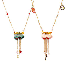 French Les Nereides Blue Pink Tassel Bell orchid Flower Women Clavicle Chain Enamel glaze Women Necklace(China)