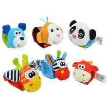 Baby Cute Animal Wrist Rattles 1 Pair Socks Mobiles/ Wristband Rattles 6 Style Choose Stripe Foot Ring Sock Set Christmas Gift