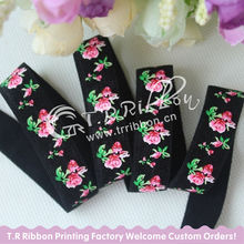 "Silk Screen printing Rose Printed on 5/8"" elastic ribbon  #030 black factory offer Custom print FOE"
